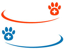 Veterinarian background with paw and cross Royalty Free Stock Photos