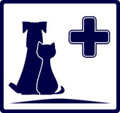 Veterinarian banner with dog and cat. Blue veterinarian banner with dog and cat silhouette Stock Photos
