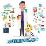 Veterinarian. Character design with icon set, zoological medicin. E -  illustration Stock Photography