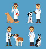 Veterinarian doctor with dogs Royalty Free Stock Photos