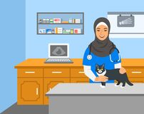 Veterinarian doctor holds cat on examination table vector illustration