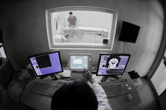 Veterinarian doctor with MRI computer control Royalty Free Stock Image