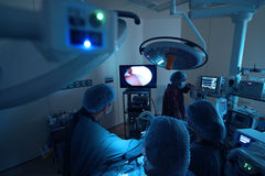 Veterinarian doctor in operation room for laparoscopic surgical Stock Photography