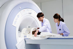 Veterinarian doctor working in MRI room Royalty Free Stock Photography