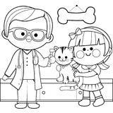 Veterinarian examining a cat. Coloring book page. Veterinary physician examining a little girl's cat with an otoscope. Coloring book page Stock Photography