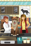 Veterinarian examining a cute dog Stock Images