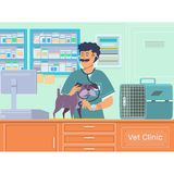 Veterinarian examining a dog in animal hospital.Veterinary doctor pet checkup with stethoscope.Vector illustration. Veterinarian examining a dog in animal Royalty Free Stock Photography