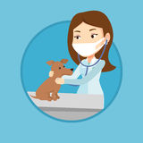 Veterinarian examining dog vector illustration. Stock Photos