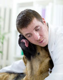 Veterinarian hugging dog Royalty Free Stock Photo