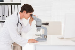 Veterinarian looking through microscope Royalty Free Stock Image