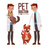 Veterinarian Male Vector. Dog And Cat. Medicine Hospital. Pet Doctor. Health Care Clinic Concept. Isolated Flat Cartoon. Veterinarian Male Vector. Dog And Cat stock illustration