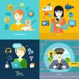 Veterinarian, news, driver and operator Stock Image