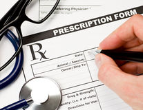 Veterinarian prescription form Stock Photos