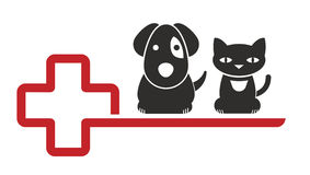 Veterinarian. Sign for a veterinarian with cat and dog silhouettes Stock Photo