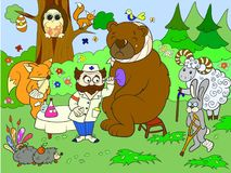 Veterinarian treats animals in the forest vector illustration Royalty Free Stock Images