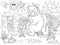 Veterinarian treats animals in the forest vector illustration Stock Photos