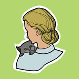 Veterinarian. Vector illustration,. Veterinarian with a kitten , hand drawing Royalty Free Stock Photography