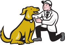 Veterinarian Vet Kneeling With Pet Dog Cartoon Stock Images