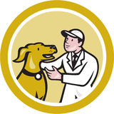 Veterinarian Vet Kneeling Beside Pet Dog Circle Cartoon Royalty Free Stock Photography