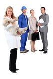 Veterinarian workers in the background Royalty Free Stock Photo