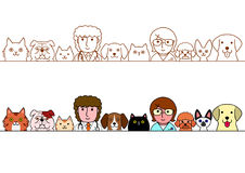 Veterinarians and cats and dogs border set Royalty Free Stock Images