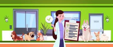 Veterinario de sexo femenino Over Dogs Sitting en sala de espera en oficina de la clínica del veterinario ilustración del vector