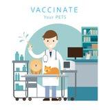 Veterinario de sexo masculino Vaccinate Pets ilustración del vector