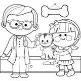 Veterinario que examina un gato Página del libro de colorear stock de ilustración