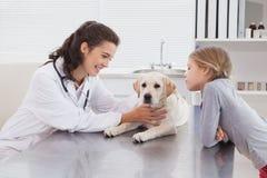 Veterinario sonriente que examina un perro con su dueño Fotografía de archivo libre de regalías