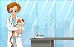 Veterinario y gato en el hospital ilustración del vector