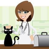 Veterinario y gato lindos de la historieta Imagen de archivo libre de regalías