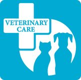 Veterinariry care icon with dog and cat Royalty Free Stock Images