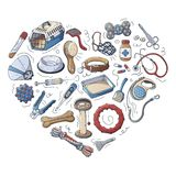 Veterinary accessories for care cats and dogs. Vector stock illustration