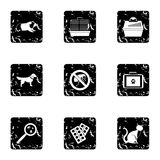 Veterinary animals icons set, grunge style Stock Photography