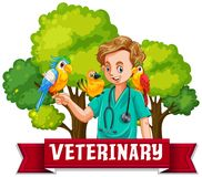 Veterinary Banner with Colourful Bird Royalty Free Stock Photos