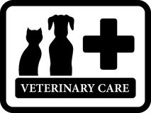 Veterinary care icon on black frame Stock Photo