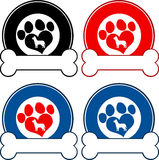 Veterinary Circle Labels With Love Paw Dog And Bone. Collection Set Stock Images