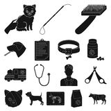 Veterinary clinic black icons in set collection for design. Treatment of a pet vector symbol stock web illustration. Veterinary clinic black icons in set Stock Photography