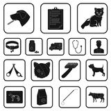 Veterinary clinic black icons in set collection for design. Treatment of a pet vector symbol stock web illustration. Veterinary clinic black icons in set Royalty Free Stock Images
