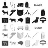Veterinary clinic black icons in set collection for design. Treatment of a pet vector symbol stock web illustration. vector illustration