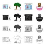 Veterinary clinic, building, and other web icon in cartoon style. Washing, hygiene, hound, icons in set collection. Royalty Free Stock Photos