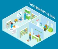 Veterinary clinic cutaway interior vector flat isometric illustration. Veterinary clinic cutaway interior, vector flat isometric illustration. Vet clinic with Stock Photography