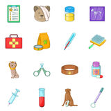 Veterinary clinic icons set, cartoon style Royalty Free Stock Image