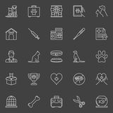 Veterinary clinic icons. Vector collection of cat, dog vet medicine outline concept signs on dark background Stock Photo