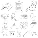 Veterinary clinic outline icons in set collection. For design. Treatment of a pet vector symbol stock  illustration Royalty Free Stock Images