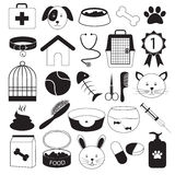 Veterinary Clinic and Pet Icons Set Royalty Free Stock Photos