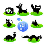 Veterinary clinic. Pet vet help. Set of  funny animals cartoon character. Isolated on white background. Vector illustration. Flat icons silhouette Stock Photos