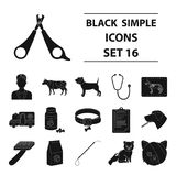 Veterinary clinic set icons in black style. Big collection of veterinary clinic vector symbol stock illustration Royalty Free Stock Images