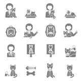 Veterinary clinic visit black icons set Royalty Free Stock Photography