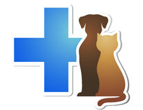 Veterinary cross and pets Royalty Free Stock Images